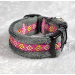 Collier à clips gris et rose